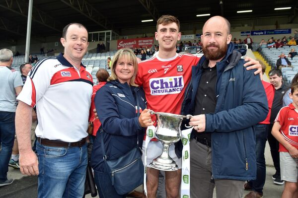 Cork captain Peter O'Driscoll with Marc Sheahan, vice chairman County board; Tracey Kenedy, chairperson and Kevin O'Donovan, CEO. Picture: Eddie O'Hare