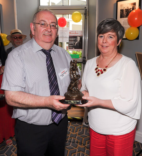 Festival PRO James Nolan presents the Spirit of Mother Jones Award for 2019 to Louise O'Keeffe, at the opening of the festival at the Maldron Hotel, Cork.