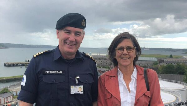 Captain Brian Fitzgerald, Irish Naval Service, and artist Dorothy Cross.