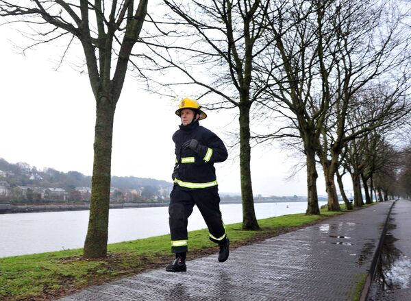 O'Shea, a firefighter, previously ran a full marathon in his full firefighting attire
