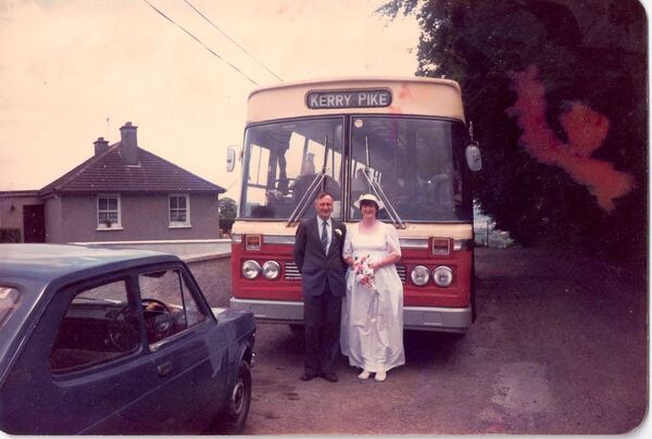 Geraldine Horgan, who made history as one of the first first female bus conductors in Ireland and then went on to become one of the first female bus drivers in the country, on her wedding day with her father Larry. Geraldine travelled to her wedding on a bus.
