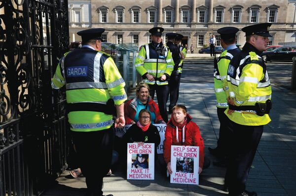 Vera Twomey outside the Dail. Picture courtesy of the Irish Times.