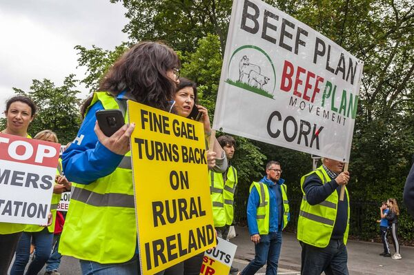 Cork farmers had a significant representation at the protest. Picture: Andy Gibson.