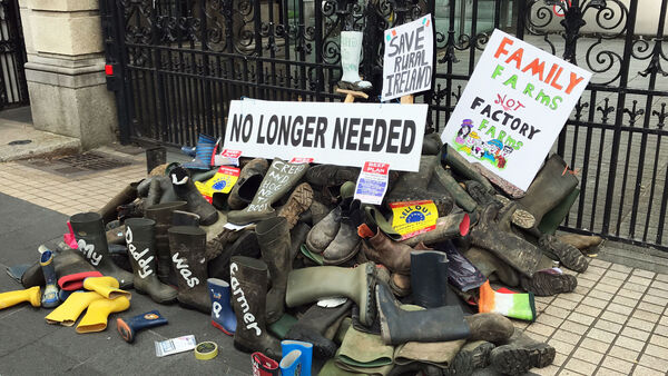Farmers' wellies in a pile at the gates of Leinster House during the demonstration.