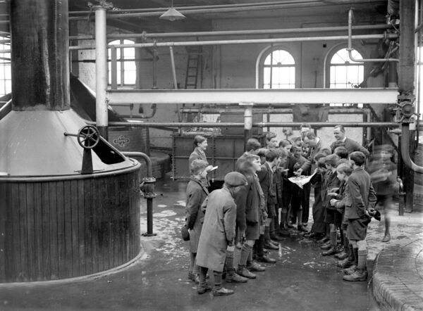 Blackpool National School boys tour the brewery in 1935.