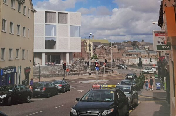 The revised events centre plans viewed from Barrack Street. Pic: G-Net 3D