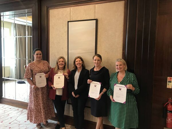 L-R Kellie McKiernan, Catriona Sheehan, Clare Kennelly, Natale Morrissey and Diane Magee Taken at the Kingsley Hotel. Managers from the Kingsley and Fota Collection completed the Inclusive Leadership training with Inclusive Cork.