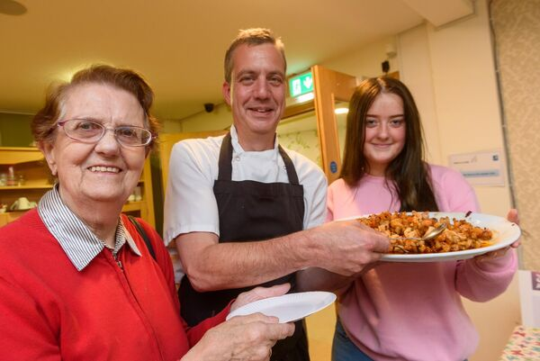 Resident Stella Grogan with head chef Par Karph and Abby Rice from KYSS pictured at the launch of the Haven Bay Care Centre Cookery Book in aid of Kinsale Youth Support Services (KYSS) at a cookery demonstration in Haven bay Care Centre.Picture. John Allen