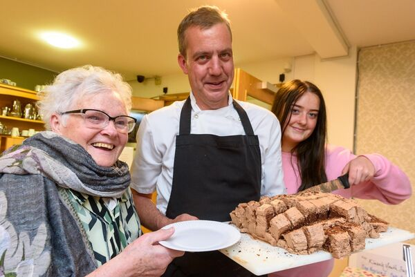 Resident Anne Fleming with head chef Par Karph and Abby Rice from KYSS pictured at the launch of the Haven Bay Care Centre Cookery Book in aid of Kinsale Youth Support Services (KYSS) at a cookery demonstration in Haven bay Care Centre.Picture. John Allen