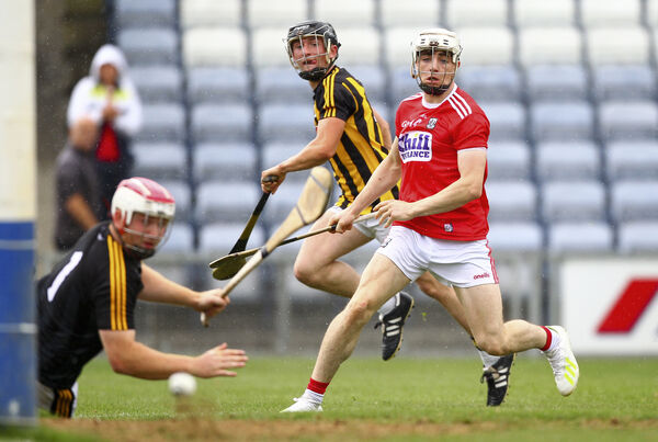 Shane O'Regan watches as Kilkenny's Dean Mason saves his shot. Picture: INPHO/Ken Sutton
