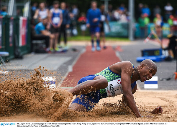 Luvo Manyonga competing in the Men's Long Jump event, sponsored by Cork Airport. Picture: Sam Barnes/Sportsfile