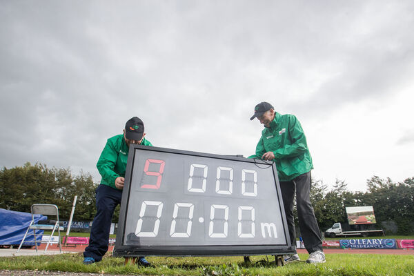 Pat Fitzgibbon and Tim Ahern prepare the track. Picture: INPHO/Tommy Dickson
