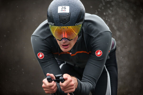 Harry Wiltshire, Great Britain, competing during the 112 mile bike ride, at Ireland's first ever full distance IRONMAN event.Photo: Cathal Noonan
