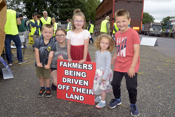 Pictured at the Beef Plan movement protest at ABP Bandon Co Cork was Connor, Louise, Katelyn Leanne and Daniel Walsh from Ballinascarthy. Picture Denis Boyle