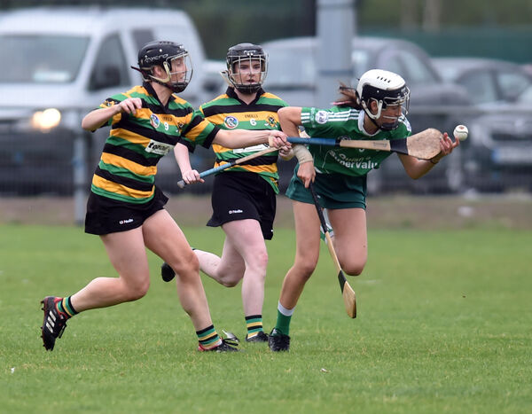 Ballincollig's Hannah O'Leary is tackled by Glen Rovers' Lydia Cunningham. Picture: Eddie O'Hare