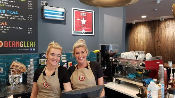 Chloe Corkery (barista) and Iwona Smusz (Cafe Manager) at Bean and Leaf Passage West