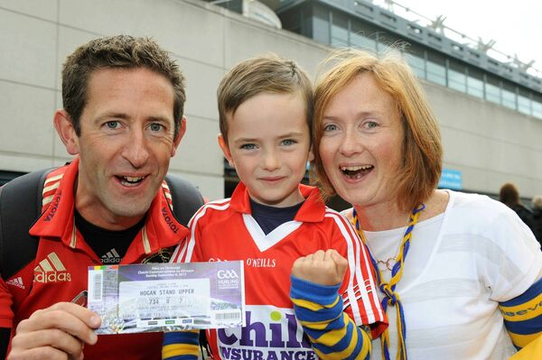 Aidan O'Connell with his wife Maria and son Barry from Carrigaline at the 2013 All-Ireland hurling final. Picture: Brian Lougheed
