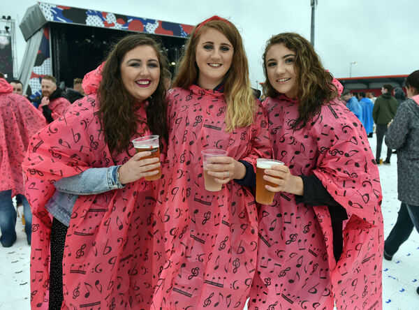 Sarah Kane, Erin and Nuala Petticrew at the Liam Gallagher gig at Musgrave Park tonight.