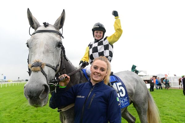 Jody Townend celebrates with groom Katie Murphy. Picture: Healy Racing.