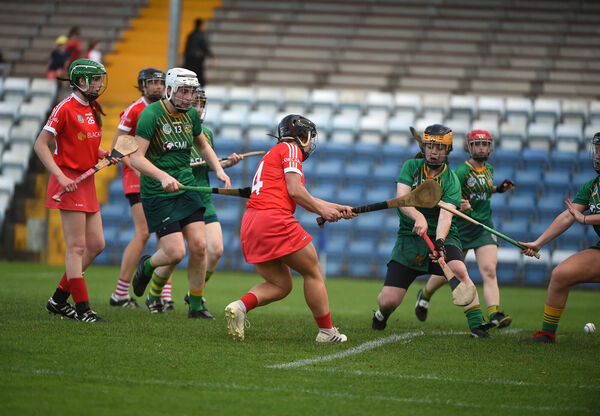 Linda Collins fires in the third goal for Cork.Picture: Larry Cummins