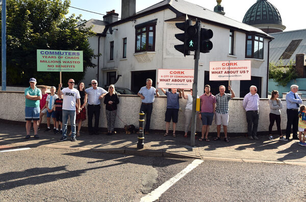 Protestors at Dennehy's Cross and along Wilton road last week.Picture: Eddie O'Hare
