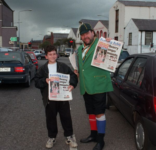 Brendan Grace with the real Echo boy Arthur on the Christy Ring Bridge in Cork in 1997.