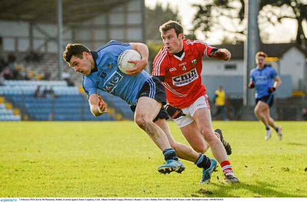Kevin McManamon, Dublin, tries to get past James Loughrey. Picture: Diarmuid Greene/SPORTSFILE