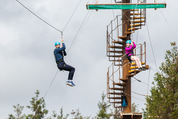 People enjoying the Aerial Tree Trekking and Zip Wire at Center Parcs Longford Forest. Picture: Naoise Culhane