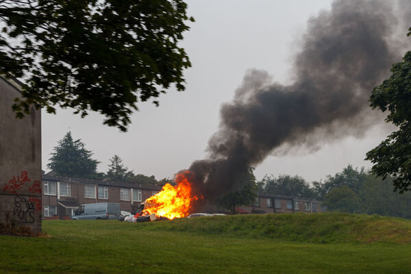 The heavy rain on June 23 led to the cancellation of the official bonfire night celebrations in Cork but some illegal fires still took place around the city. Picture: Damian Coleman.