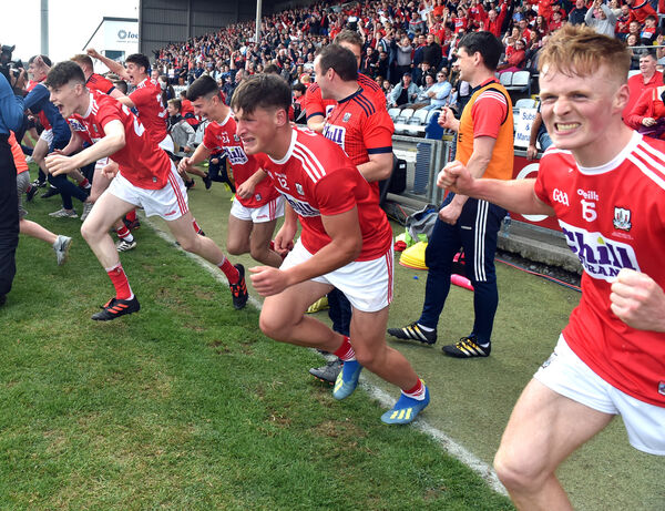 Cork players Colm O'Callaghan and Damien Gore celebrate on Saturday. Picture: Eddie O'Hare