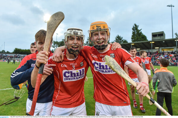 Sean O'Leary Hayes and James Keating after Cork beat Tipp at minor. Picture: Eóin Noonan/Sportsfile