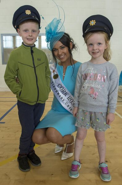 Cork Rose Stephanie McCarthy with Cian and Zoe O'Donovan from Grange, Douglas, County Cork at a Garda Open Day in the John Mitchels.Photo By : Domnick Walsh / Eye Focus LTD ©