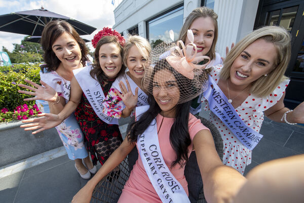 Cork Rose Stephanie McCarthy Pictured with Abu Dhabi Karen Cashman , Sydney Rebecca Mazza , South Australia Simone Hendrick Buchanan and Western Canada Sarah O'Shea at the Glenroyle Hotel Maynooth. Picture: Domnick Walsh