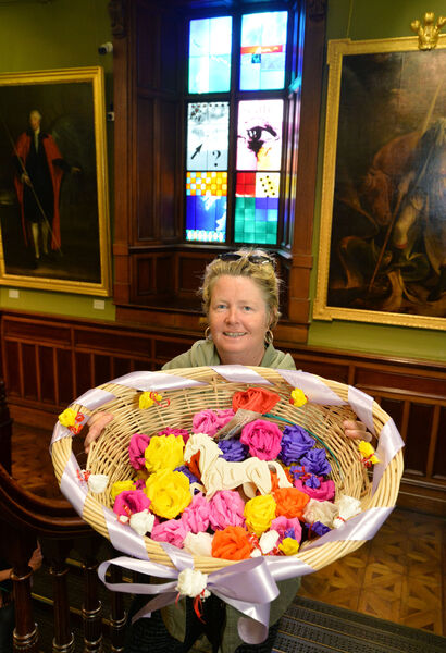 Catherine Coffey O'Brien, a flower maker from Blarney, pictured in the Crawford Art Gallery. Picture Denis Minihane.