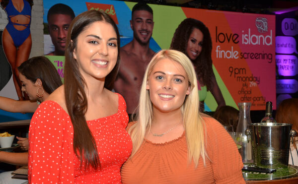 Natasha Egan and Sarah Murphy seen at the 'Love Island' TV series finale screening at Reardens Bar, Washington Street. Picture: Howard Crowdy