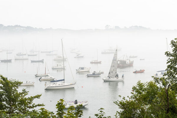 The fog envelops the boats in Schull Harbour on an overcast but humid day in West Cork. Picture: Andy Gibson