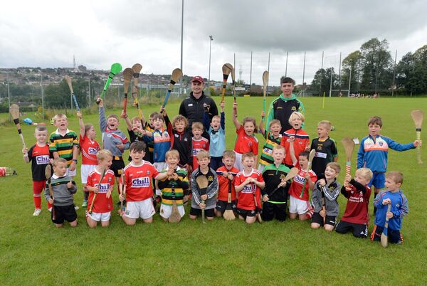 An U6 group with Colm Spillane and Glen Rovers' Gearóid Mulcahy. Picture: Denis Minihane.