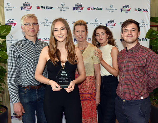 Lorna Bateman with her parents Ivan and Bridget Bateman, her sister Heather and boyfriend Michael Barry. Picture: Eddie O'Hare