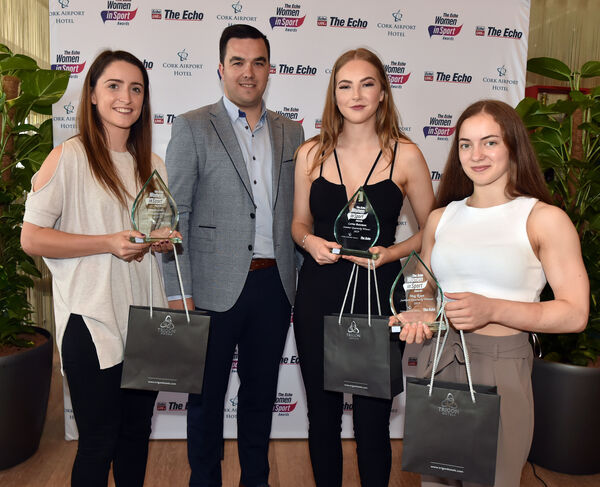 Diarmuid Vaughan, General Manager, Cork Airport Hotel with the winners. Picture: Eddie O'Hare