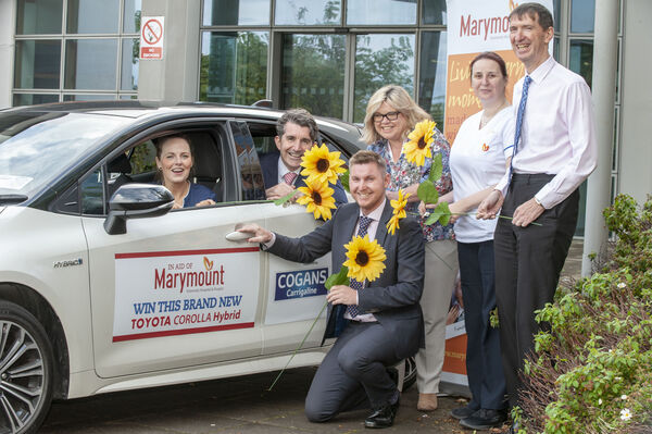 Marymount University Hospital & Hospice launch their 2019 Car Draw. At the launch were, from left: Grainne Doherty, Marymount; Rob Cogan, Cogans of Carrigaliine; Mary Morrish, Fundraising officer, Marymount; Paul Foy, Sales Manager, Cogans of Carrigaline; Rosita Foley and Liam Kerins, Marymount.Tickets are available at Marymount University Hospital, Curraheen; Marymount Shop, 87 Oliver Plunkett Street, Cork (opposite Liam Ruiseals); Cogans Toyota Carrigaline and they are also available online at www.marymount.ie Tickets are €10.00 each or 3 for €20.00.Pic: Brian Lougheed