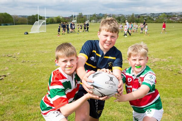 Ronan Davis, Dublin; Cathal Bruhn, Cork City, and Jake Gould, Mardyke, pictured at the opening of Tramore Valley Park.