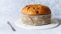 Panettone, typical christmas italian food, on rustic background.
