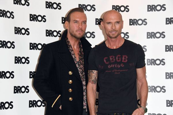 Matt Goss and Luke Goss attend a press conference as Bros announces a Reunion. Picture: Stuart C. Wilson/Getty Images