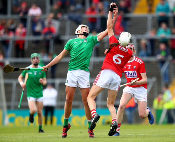 Limerick's Diarmuid Hegarty is beaten to the sliotar by Ciarán Joyce. Picture: INPHO/James Crombie