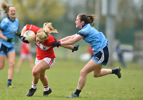 Sadhbh O'Leary gets away from Eabha Rutledge of Dublin. Picture: Matt Browne/Sportsfile