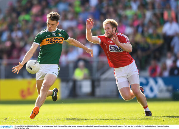 David Clifford of Kerry in action against Ruairí Deane of Cork. Picture: Stephen McCarthy/Sportsfile