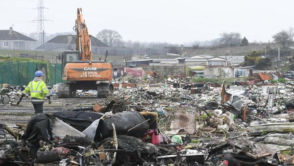 The clean-up operation at Ellis's Yard, Spring Lane, Cork, earlier this year.Picture: David Keane.