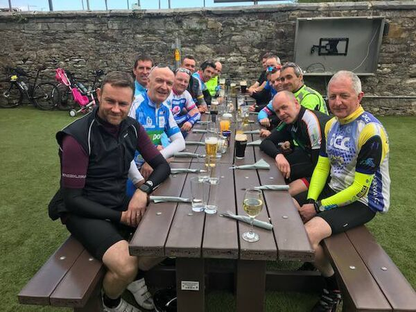 The group of local cyclists who went to meet Pat Barry (front, left) from Rosslare on his 700km cycle ride from London to Cork.