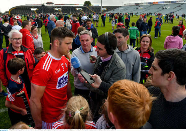 Eoin Cadogan is interviewed after. Picture: Diarmuid Greene/Sportsfile