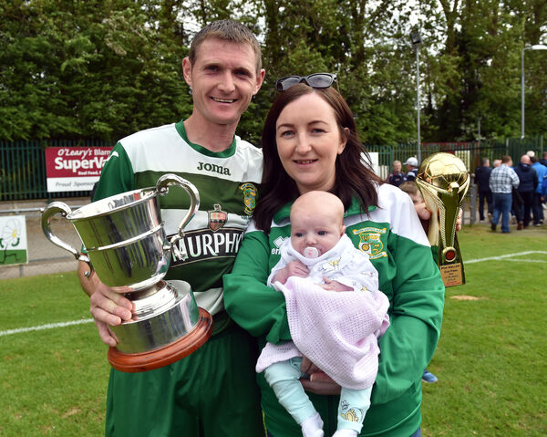 David Murphy captain, with Emma Murphy and baby Mia. Picture: Eddie O'Hare